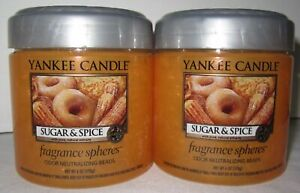 Yankee Candle Fragrance Spheres Odor Neutralizing Beads Lot of 2 SUGAR & SPICE