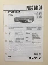 Sony MDS-M100 Service Manual (original Document Not Copy Or PDF)