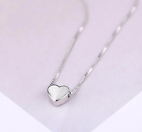 925 Sterling Silver Lovely Tiny Heart Charm Pendant Necklace Jewelry Gift 18""