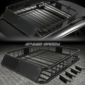 "48""X 40""MILD STEEL ROOF RACK TOP CARGO LUGGAGE CARRIER BASKET+WIND FAIRING BLACK"