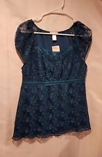 NWT Fashion Bug Women's Size Small Turquoise Lace Top