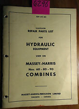 Massey Harris Ferguson 60 80 90 Combine Hydraulic Equipment Repair Parts Manual