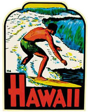 Hawaii Surfer Guy Vintage Style Surf sticker Travel Decal surfing honolulu