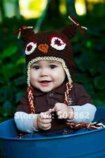 Baby Kids Boys Girls Warm Knit beanie Brown headband parrot owl hat Cap Prop