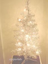 2 FT PRE-LIT/PRELIT SILVER ARTIFICIAL CHRISTMAS TREE ~ 75 TIPS 20 LIGHTS - NIB