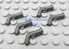 NEW 5 Lego GRAY HAND GUNS- Minifig Revolver Pistol Weapon- Indiana Jones/Police