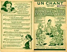 """""""UN CHANT"""" Partition originale du film """"BLANCHE-NEIGE ET LES SEPT NAINS""""  DISNEY"""