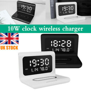 LED 3 in1 Electric Alarm Clock Wireless Charger Thermometer Charging Pad Station