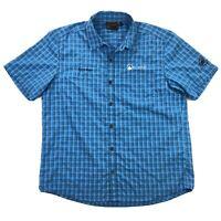 Mammut Mens XL Blue Plaid Polyester Short Sleeve Button Up Camping Hiking Shirt
