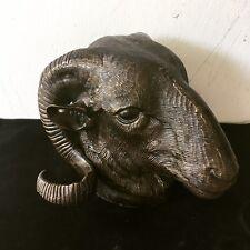 Vintage Mid Century Cast Bronze Ram's Head (Goat, Sheep) Desk Piece, Decor