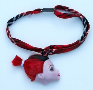 Red Gothic Monster Doll Head Renewal Upcycled Necklace Choker Pastel Collar