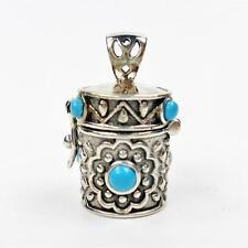 925 Sterling Silver Turquoise Ornate Cylinder Prayer Box Locket Charm Pendant