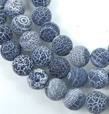 8mm Black Frost Matte Fire Crab Agate Round Beads (25)