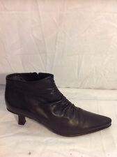 Oui Black Ankle Leather Boots Size 6.5