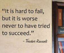 Wall Decal Sticker Quote Vinyl Art Trying is Better Theodore Roosevelt IN13