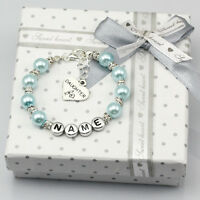 New name Personalised Girls baby Birthday Gift Charm blue Bracelet With Box