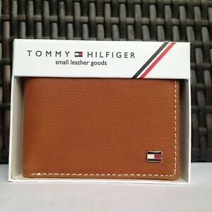 Mens Leather Wallet 'Tommy Hilfiger' Brown, Bifold, Coin Pouch, Card Slot
