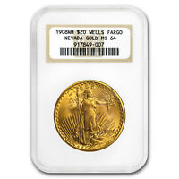 1908 $20 Saint-Gaudens Gold No Motto MS-64 NGC (Wells Fargo) - SKU#176263