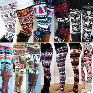 Winter Women Christmas Xmas Santa Print Leggings Slim Fit Long Pants Trousers