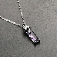 925 Silver Necklace with Amethyst Pendant UK Seller