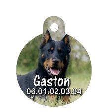 Médaille ronde chien Beauceron personnalisée avec nom et n°de téléphone