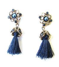 Navy Blue Gold Art Deco 1920s Vintage Style Earrings Stud Drop Flapper 30s 1059