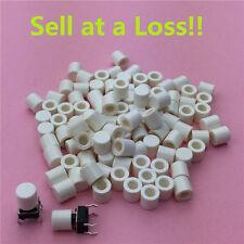100pcs White Plastic Cap Hat G63-C 6*6mm Tactile Push Button Switch Lid Cover