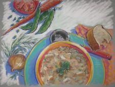 Vintage ORIGINAL Barbara Maslen 'SOUPS' Still Life Pastel ILLUSTRATION Painting