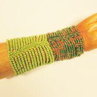 Set of 2 Green Gold Multi Strand Handmade Cleo Stretch Seed Bead Bracelets