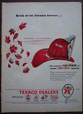 "Original Print Ad 1946, Texaco Fire-Chief Gasoline, Fireman's Helmet 10.5""x13.5"""