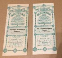Capital Stock Certificates The United Development Company 1915-1917 one share ea