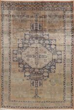 Antique Geometric Muted Distressed Area Rug Traditional Hand-made Carpet 6x9