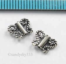 4x OXIDIZED STERLING SILVER BUTTERFLY WIRE TUBE SPACER BEAD 8.8mm x 6.6mm N794