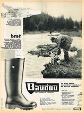 PUBLICITE ADVERTISING 035  1962  BAUDOU  les bottes pour la chasse  & peche