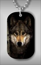 WOLF WILD LIFE HEAD CLOSE UP DOG TAG NECKLACE -ghv6Z