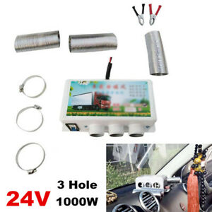 24V Portable Car Real-time Heating Compact Heater 3Hole 1000W Defroster Demister