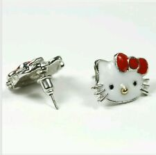 HELLO KITTY SILVER PLATED RED BOW STUD EARRINGS