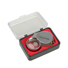 Portable Mini 20x21mm Jeweler Loupe Loop Eye Magnifier Magnifying Glass Triplet