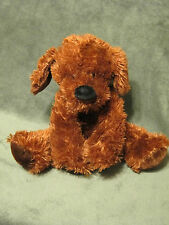 "HUGFUN Shaggy Floppy Puppy DOG Plush 10"" Soft Dark Brown Paw Pads Inner Ears"