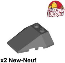 Lego - 2x Wedge 4x4 triple brique brick slope gris f/dark bluish gray 48933 NEUF