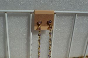 2.80ct Purple Amethyst Straight Drop Earrings 14K Yellow Gold over Fine Silver
