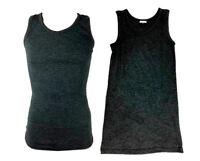 2x New Adult Men's Singlet Merino Wool Blend Singlet Thermal Underwear Black