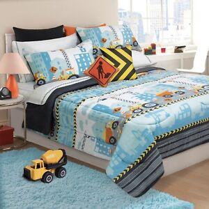 Construction Trucks Tractors Boys Twin Comforter & Shams, 2 Piece Bedding