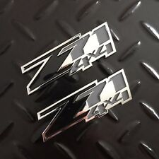 New - 2x Z71™ 4x4 Chrome & Black Emblem Badge Logo Chevy GM GMC Silverado Sierra