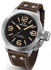 Mens TW Steel 50mm Canteen Dark Brown Leather Black Dial Date Quartz Watch CS32