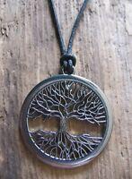 Lebensbaum Anhänger Leder schwarz Herren Damen Damenkette Baum Kette Halskette