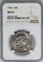 1955-P NGC 50C Silver Franklin Half Dollar MS67 Toned - Top Pop High Grade