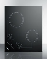 Summit Cr2B223G Smoothtop Electric Cooktop 2 Burners Black 230 Volt Built In