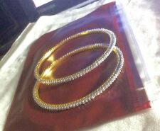 "A Pair of Gold Plated Single Line CZ Bangle Bracelets 2.4"" # 11"