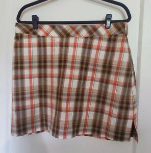 Women's Lady Hagen Brown and Orange Plaid Golf Skirt Skort Size 12